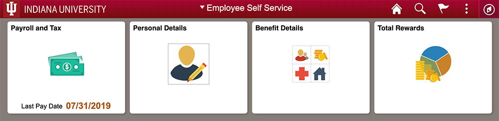 image of employee self service homepage